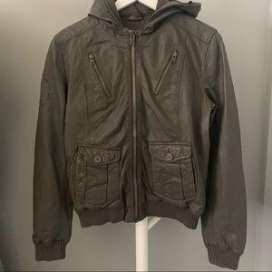 Superdry Hooded Leather Bomber Jacket